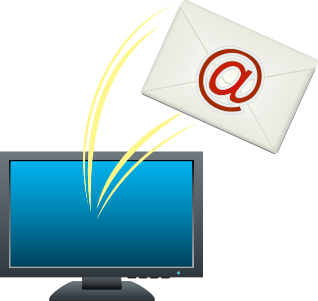 1月23日電子メールの日のイラスト-パソコンと手紙