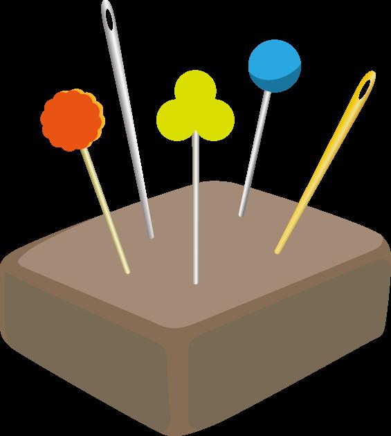 2月8日針供養のイラスト-針山と針