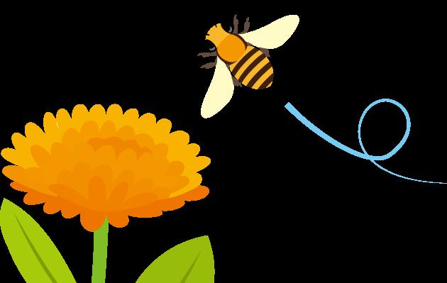 3月8日みつばちの日のイラスト-花とミツバチ