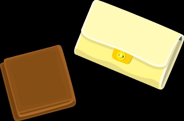 3月12日財布の日のイラスト-二つ折り財布と長財布