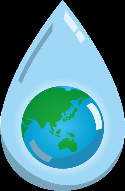 3月22日世界水の日のイラスト-水滴と地球