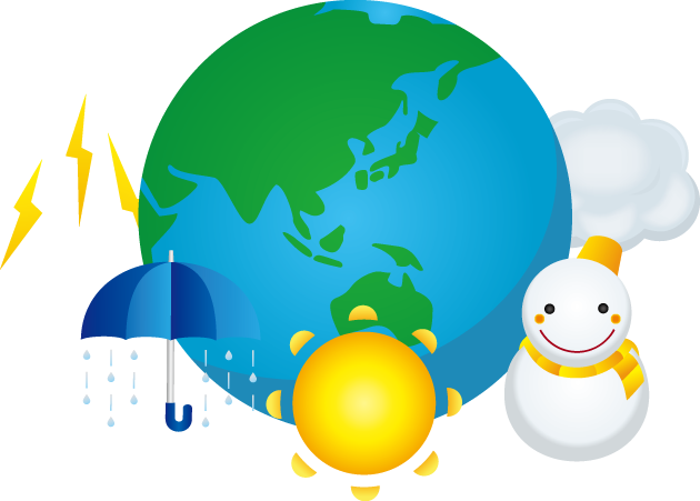 3月23日世界気象デーのイラスト-雷と傘と太陽と雪だるまと雲