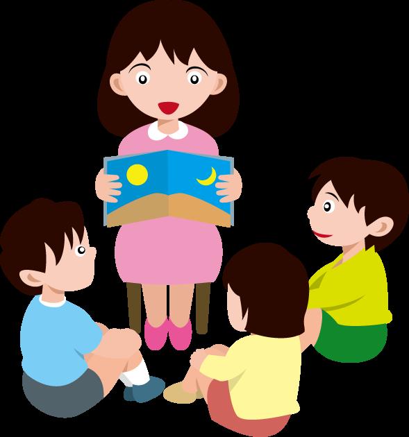 4月3日読み聞かせの日のイラスト-読み聞かせをする女性とそれを聞く子ども達