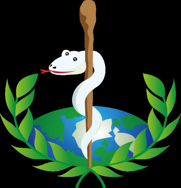 4月7日世界保健デーのイラスト-WHO(世界保健機構)の蛇と杖