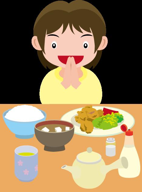 4月19日食育の日のイラスト-いただきますを言う子どもの食卓