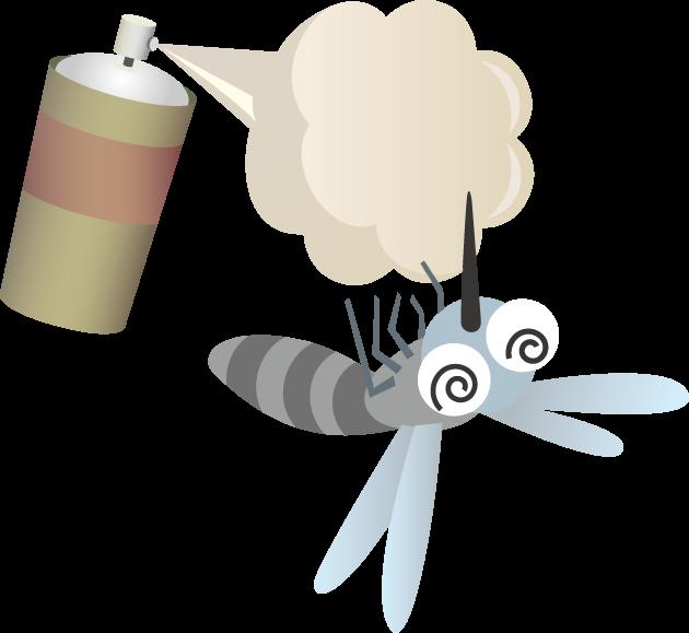4月25日世界マラリアデーのイラスト-蚊と殺虫スプレー