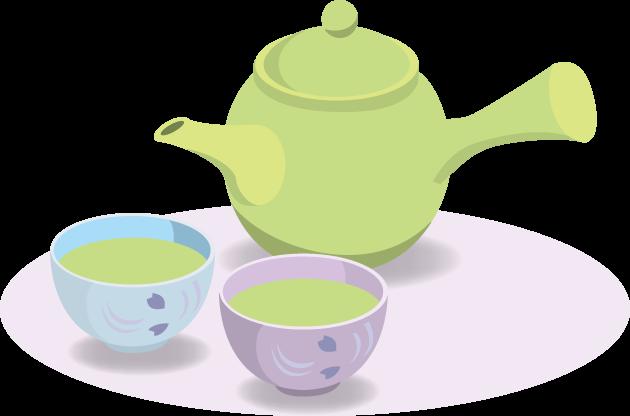 5月2日緑茶の日のイラスト-急須と湯呑