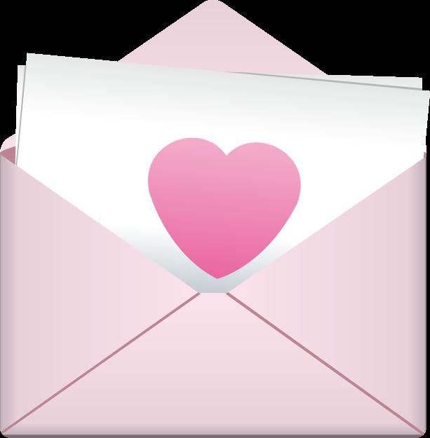 5月23日ラブレターの日のイラスト-封筒の中の便箋にハート