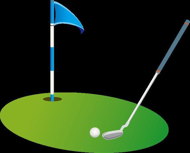 5月28日ゴルフ記念日のイラスト-カップとフラッグとゴルフクラブ