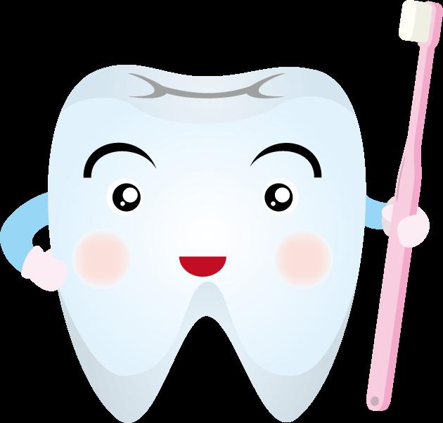 6月4日虫歯予防デーのイラスト-歯と歯ブラシ