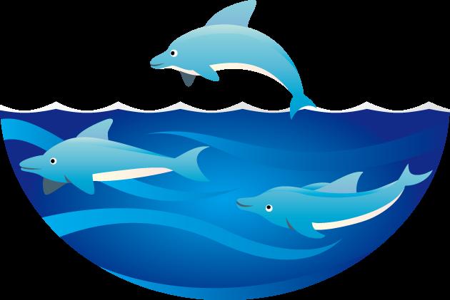 6月8日世界海洋デーのイラスト-イルカの泳ぐ海
