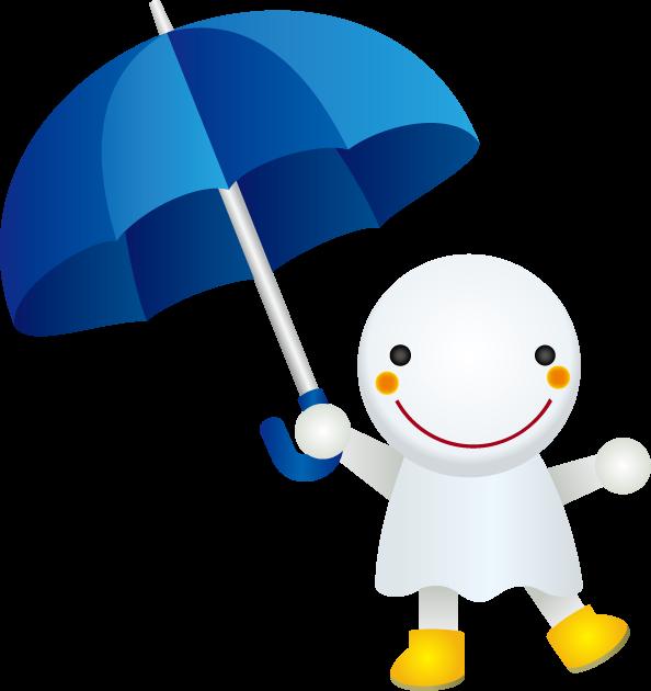 6月11日傘の日のイラスト-傘を持つテルテル坊主