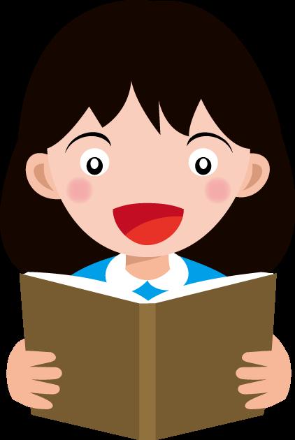 6月19日朗読の日のイラスト-本を読む女性