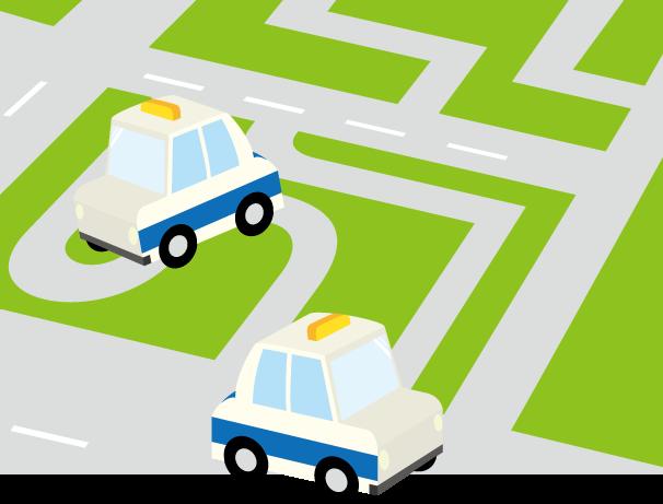 6月25日指定自動車教習所の日のイラスト-自動車教習コース