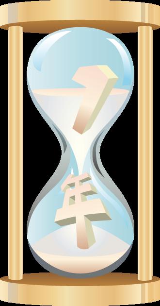 6月30日ハーフタイムデーのイラスト-1年が半分落ちた砂時計