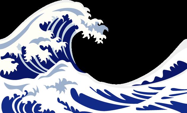 7月3日波の日のイラスト-葛飾北斎富嶽三十六景神奈川沖浪裏の波