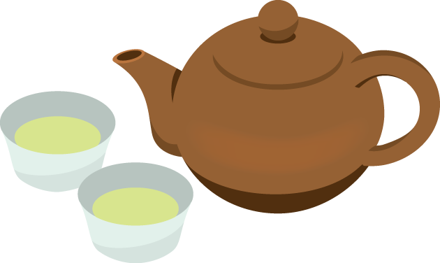 7月8日中国茶の日のイラスト-中国茶の急須と湯呑