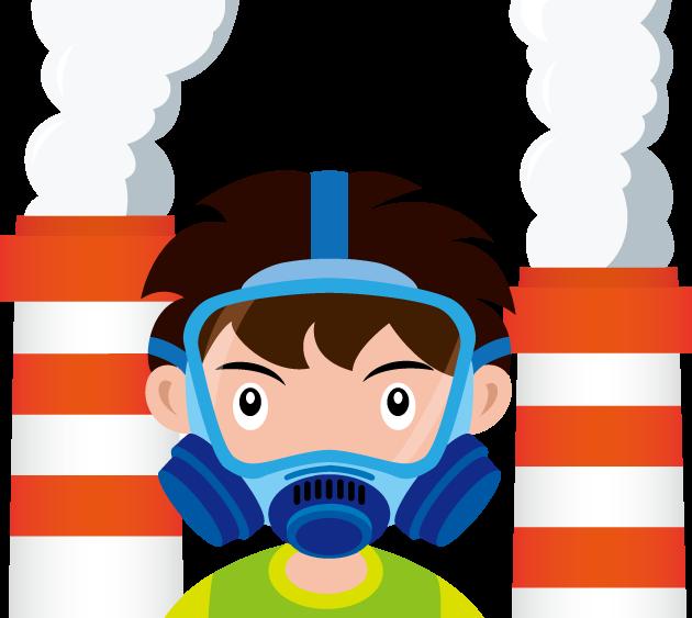 7月18日光化学スモッグのイラスト-煙突からの煙とガスマスク