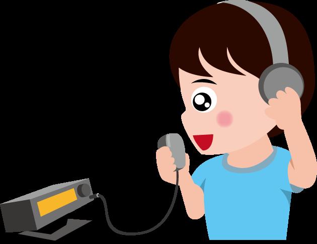 7月29日アマチュア無線の日のイラスト-アマチュア無線をする男性