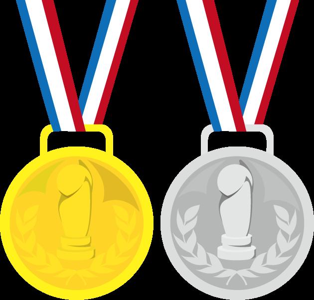 8月2日金銀の日のイラスト-金メタル銀メダル