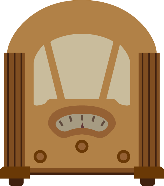 8月15日終戦記念日のイラスト-ラジオでの玉音放送