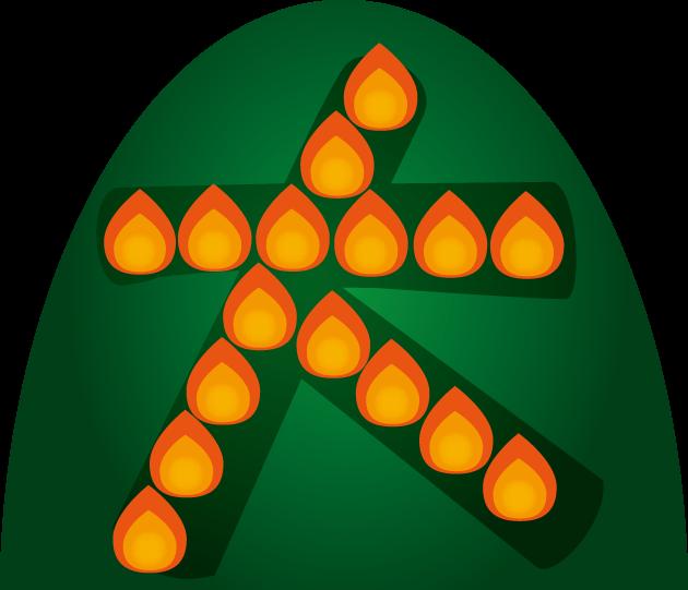 8月16日五山送り火のイラスト-大文字焼き