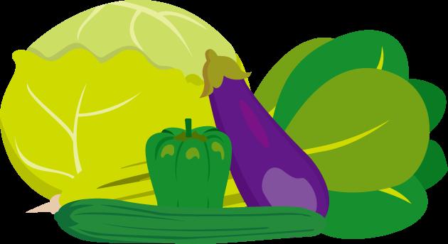 8月31日野菜の日のイラスト-キャベツ、ピーマン、キュウリ、ナス、小松菜