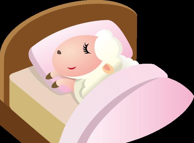 ベッドの日のイラスト-羊とベッド