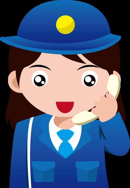 警察相談の日のイラスト-電話を受ける婦人警官