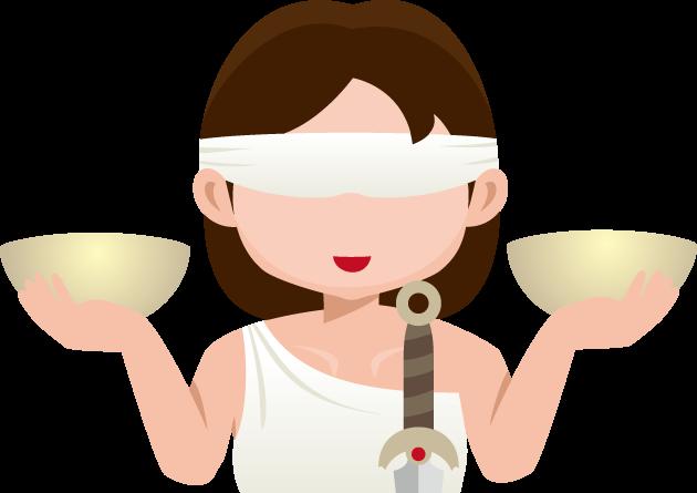 9月13日世界法の日のイラスト-秤、剣、目隠しを帯びた正義の女神