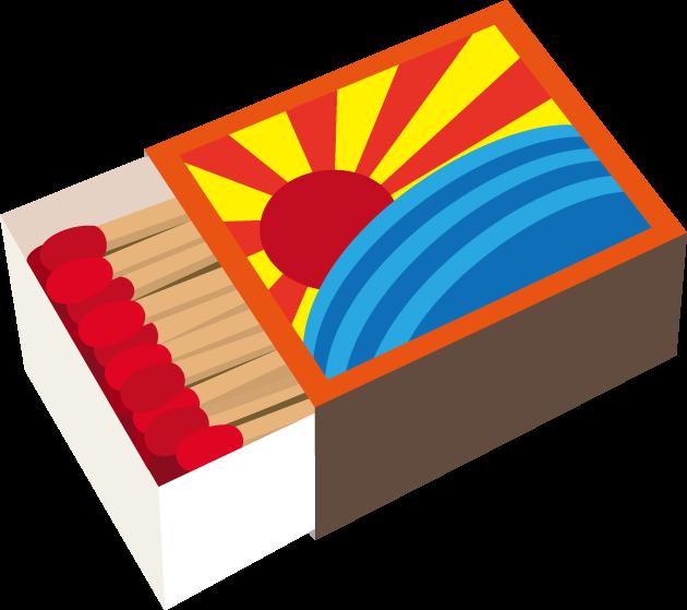9月16日マッチの日(戦後文明開化の日)のイラスト-マッチ箱とマッチ棒