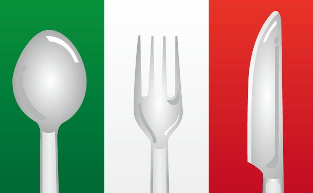 9月17日イタリア料理の日のイラスト-イタリア国旗とナイフ、フォーク、スプーン