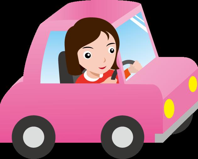 9月27日女性ドライバーの日のイラスト-車と女性運転手