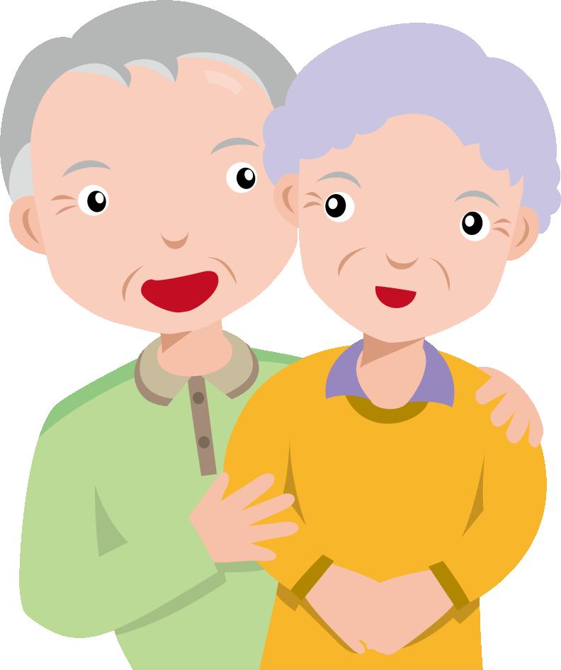 9月第3月曜日敬老の日のイラスト-おじいさんとおばあさん