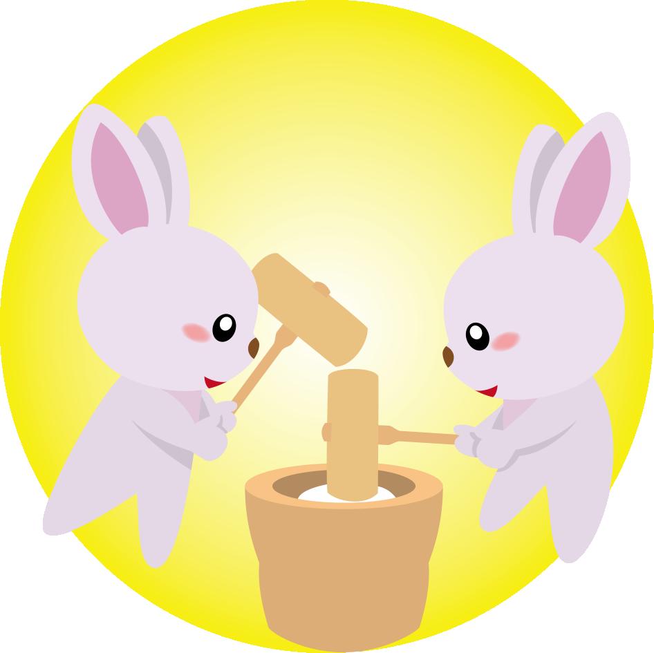 旧暦8月15日中秋の名月のイラスト-ウサギと餅つき