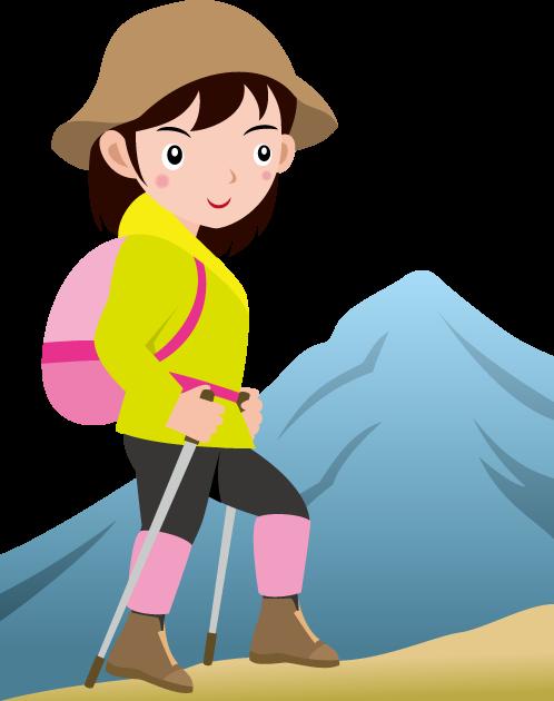 10月3日登山の日のイラスト-山ガール