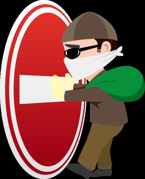 10月7日盗難防止の日のイラスト-侵入禁止マークと泥棒