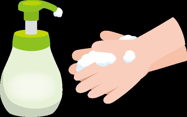 10月15日世界手洗いの日のイラスト-手洗い石鹸と手洗い