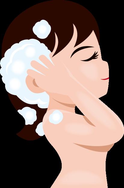 11月13日シャンプー記念日のイラスト-洗髪する女性