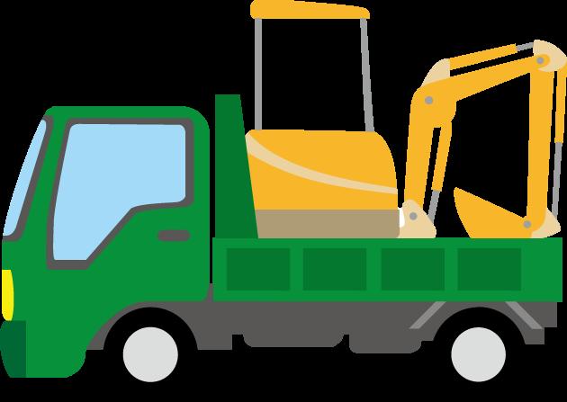 11月18日土木の日のイラスト-ショベルカーを乗せたトラック