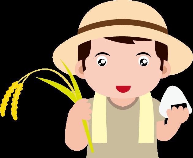11月23日勤労感謝の日のイラスト-稲とおにぎりを持つ農家の人