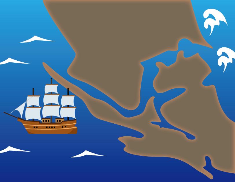 11月28日太平洋記念日のイラスト-マゼラン海峡と帆船