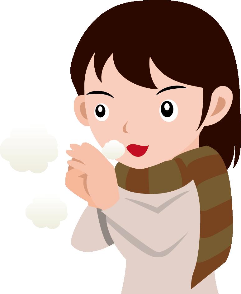 11月8日頃立冬のイラスト-かじかんだ手に息を吹きかける女性