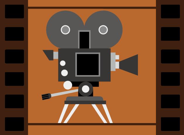 12月1日映画の日のイラスト-フィルムと映写機