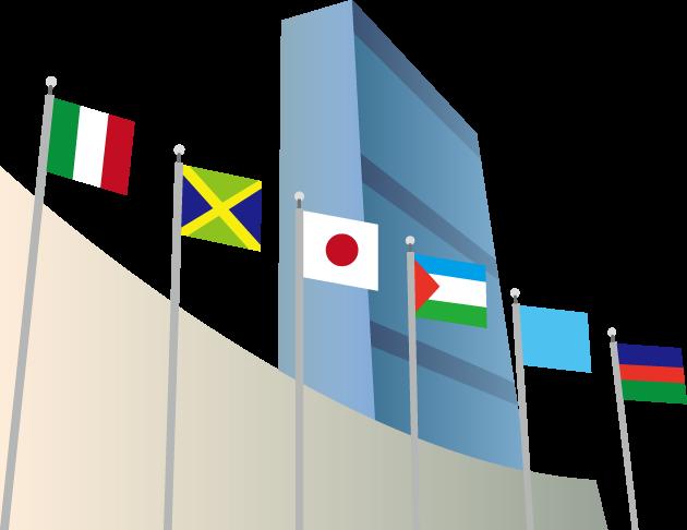 12月18日国連加盟記念日のイラスト-国連本部ビルと国旗