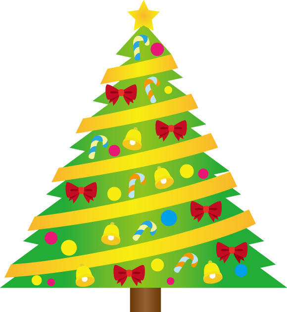 12月25日クリスマスのイラスト-クリスマスツリー