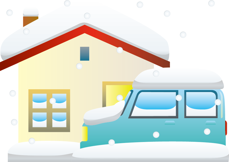 12月7日頃大雪のイラスト-大雪に埋もれたクルマと家
