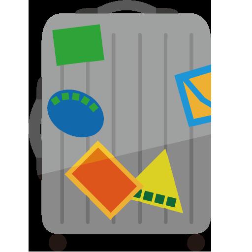 ステッカーが貼られたスーツケースのイラスト