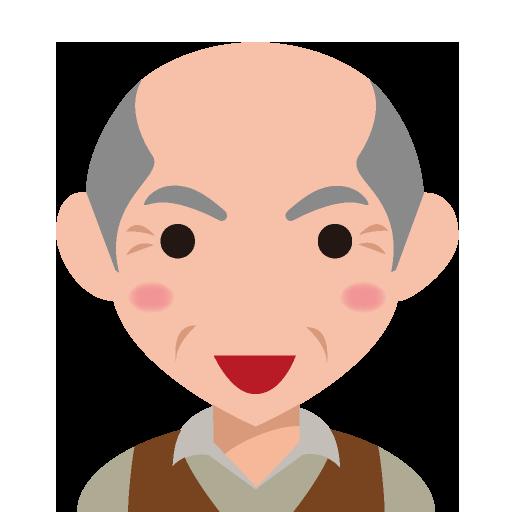 髪が薄くなったシャープな顔の高齢男性