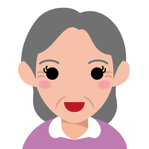 面長な顔の高齢女性